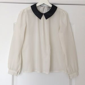 Long Sleeve White Top with Black Leather Collar